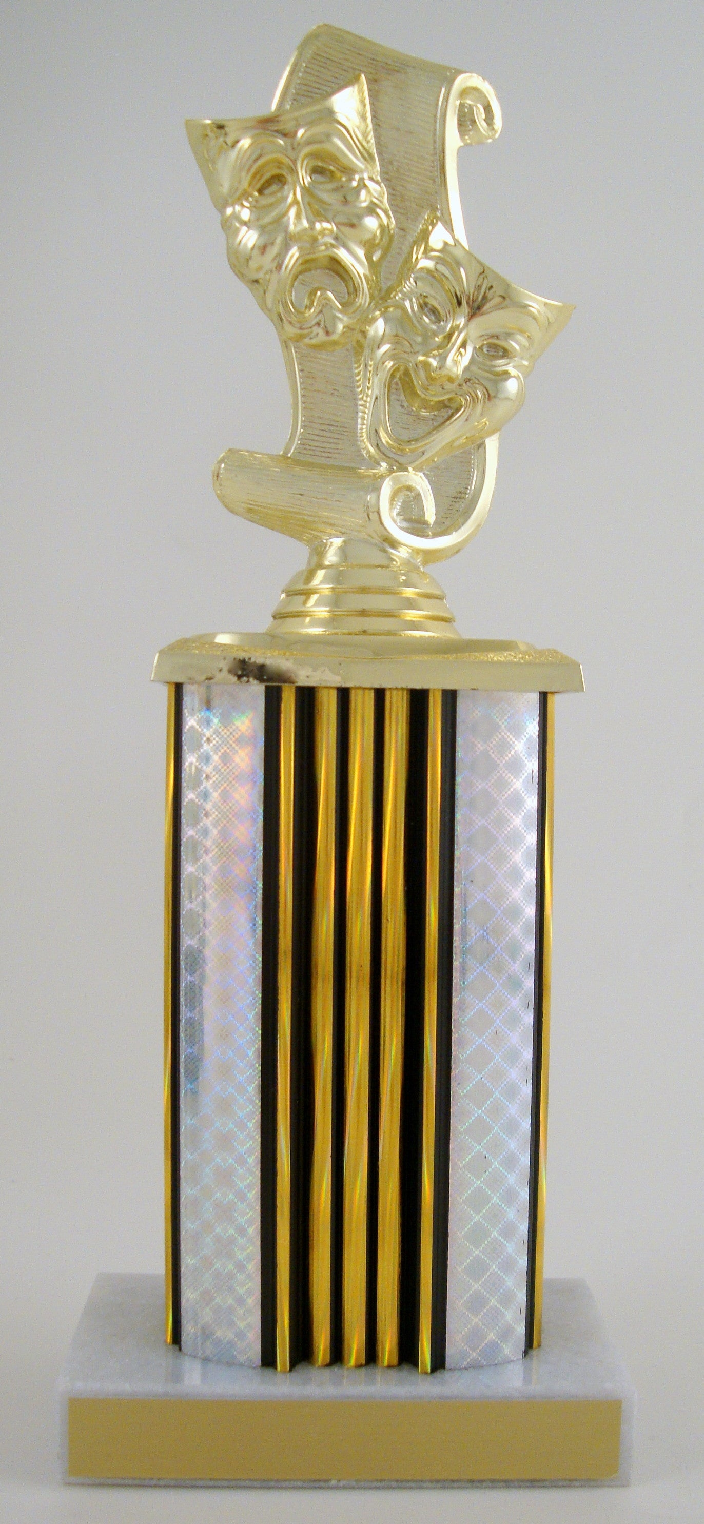 Drama Mask Trophy With Rectangular Column-Trophies-Schoppy's Since 1921