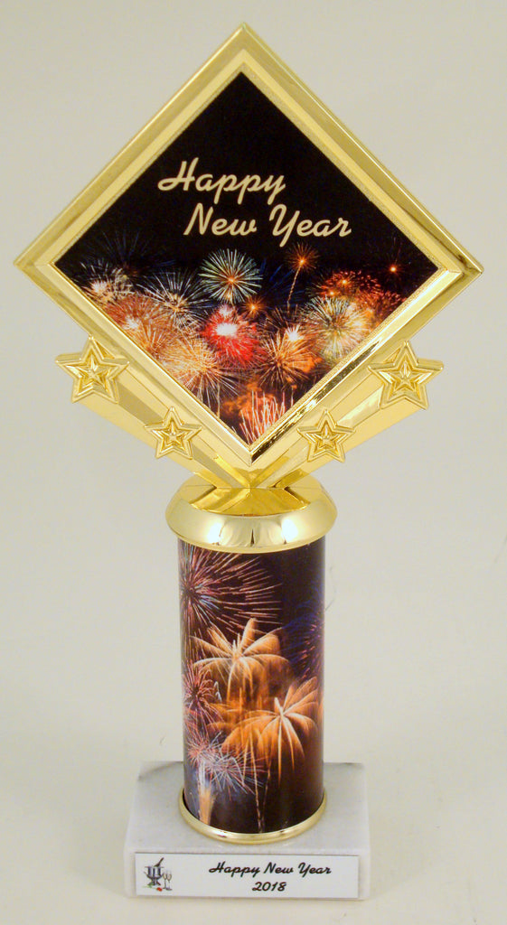 New Years Celebration Custom Diamond Trophy With Rolled Metal Column