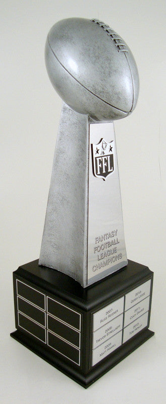Fantasy Football Championship Perpetual Trophy on Black Wood Base-Trophies-Schoppy's Since 1921