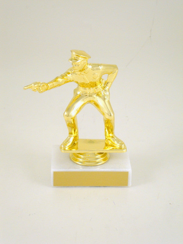 Police Pistol Trophy on Marble Base
