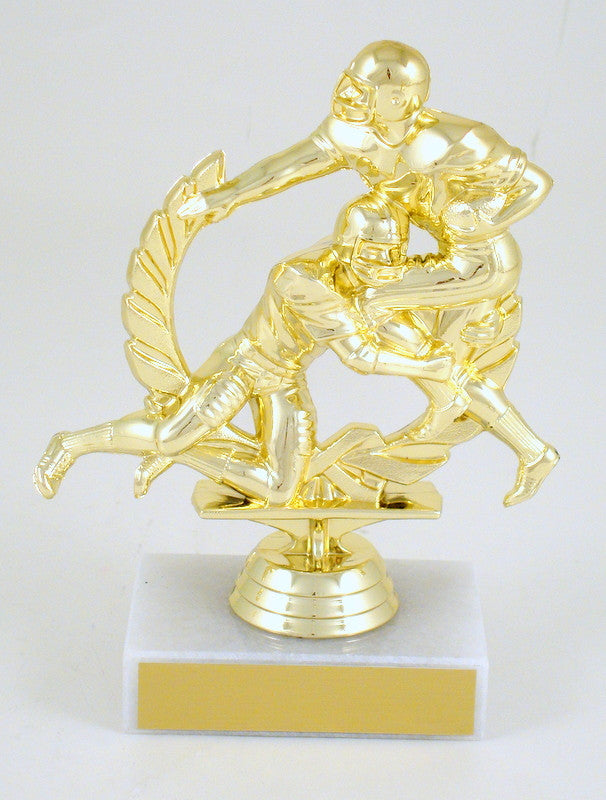 Football Double Action Trophy On Marble-Trophy-Schoppy's Since 1921