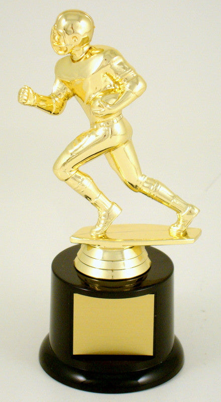 Football Runner Trophy On Black Round Base-Trophy-Schoppy's Since 1921