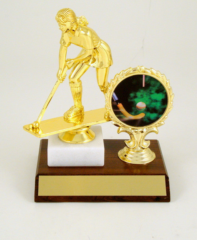 Field Hockey Trophy On Wooden Base With Logo