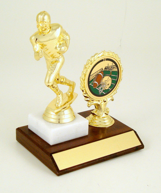 Football Figure On Wooden Base With Logo-Trophy-Schoppy's Since 1921