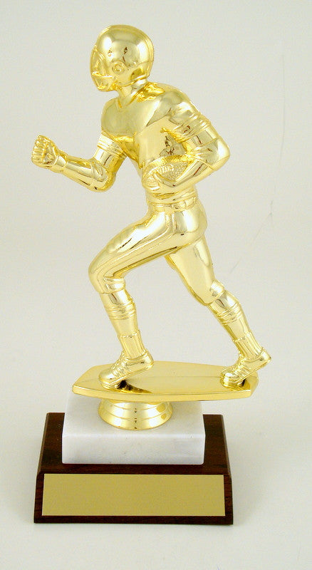 Football Runner Large Trophy on Marble & Wood Base