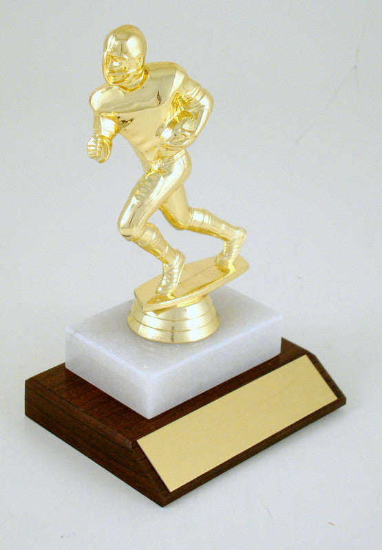 Football Runner Small Trophy on Marble & Wood Base