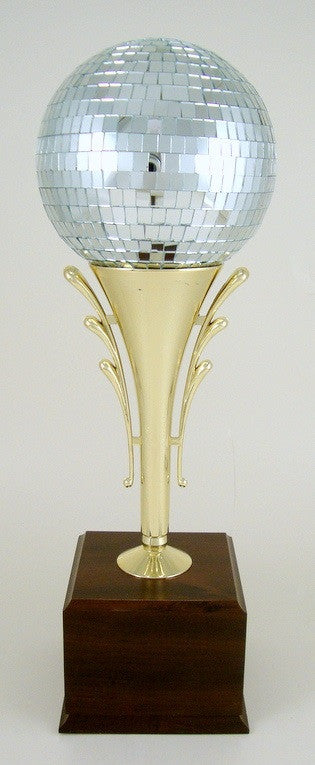 Large Disco Ball Stem Riser on Wood Base-Trophy-Schoppy's Since 1921