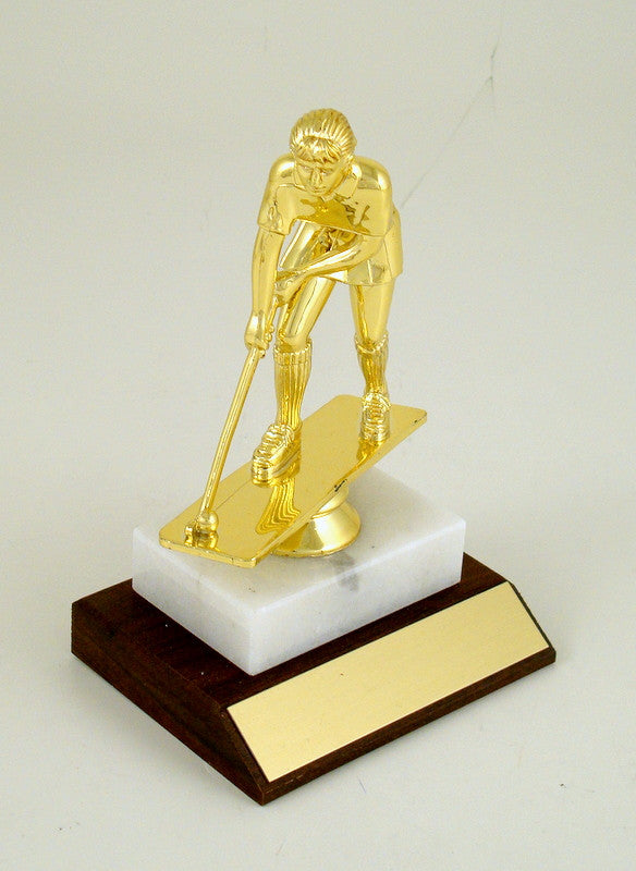 Field Hockey Trophy on Marble and Wood Slant Base