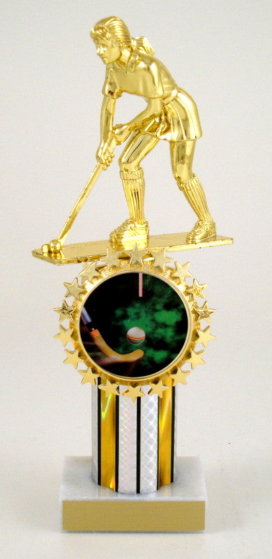 Field Hockey Trophy on Round Column with Logo