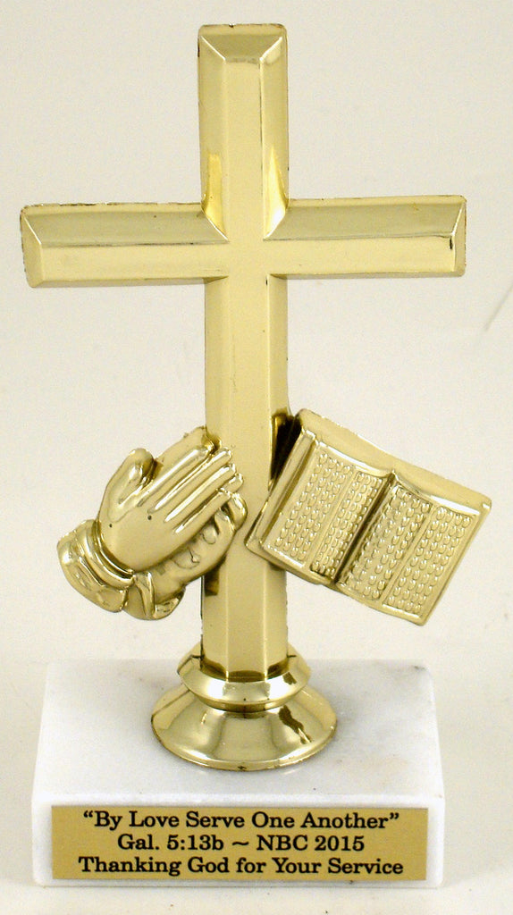Praying Hands Cross Trophy on White Marble