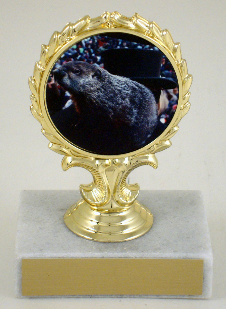 Groundhog Medallion Trophy on Marble Base