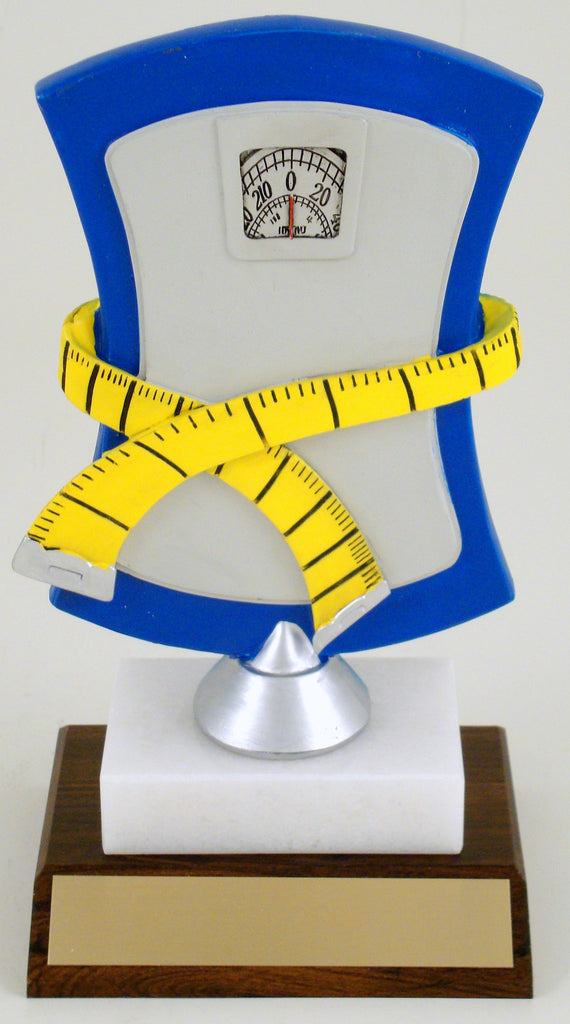 Weight Loss Scale Trophy On Wood And Marble Base