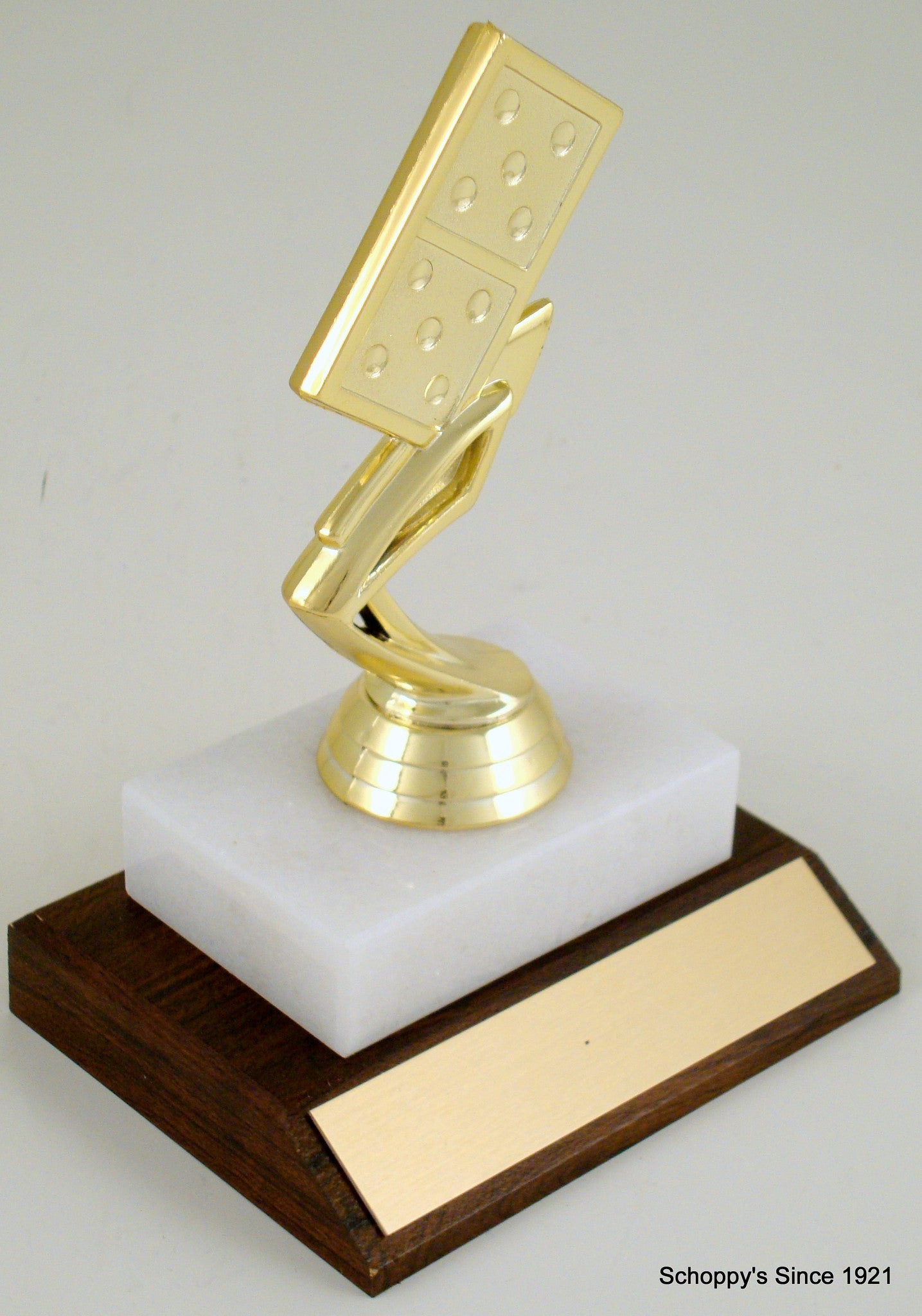 Domino Piece Trophy On Wood And Marble Base-Trophy-Schoppy's Since 1921