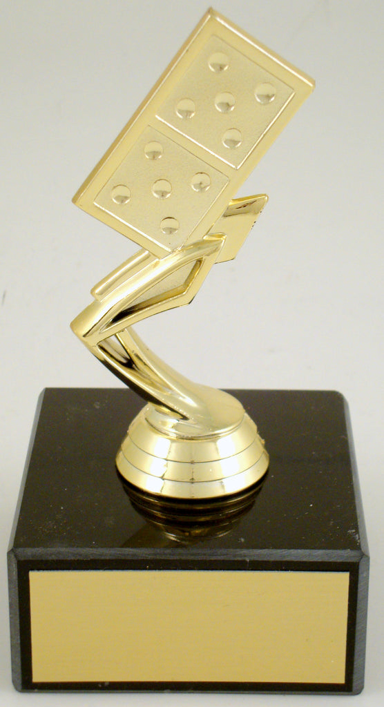 Domino Piece Trophy On Flat Black Marble