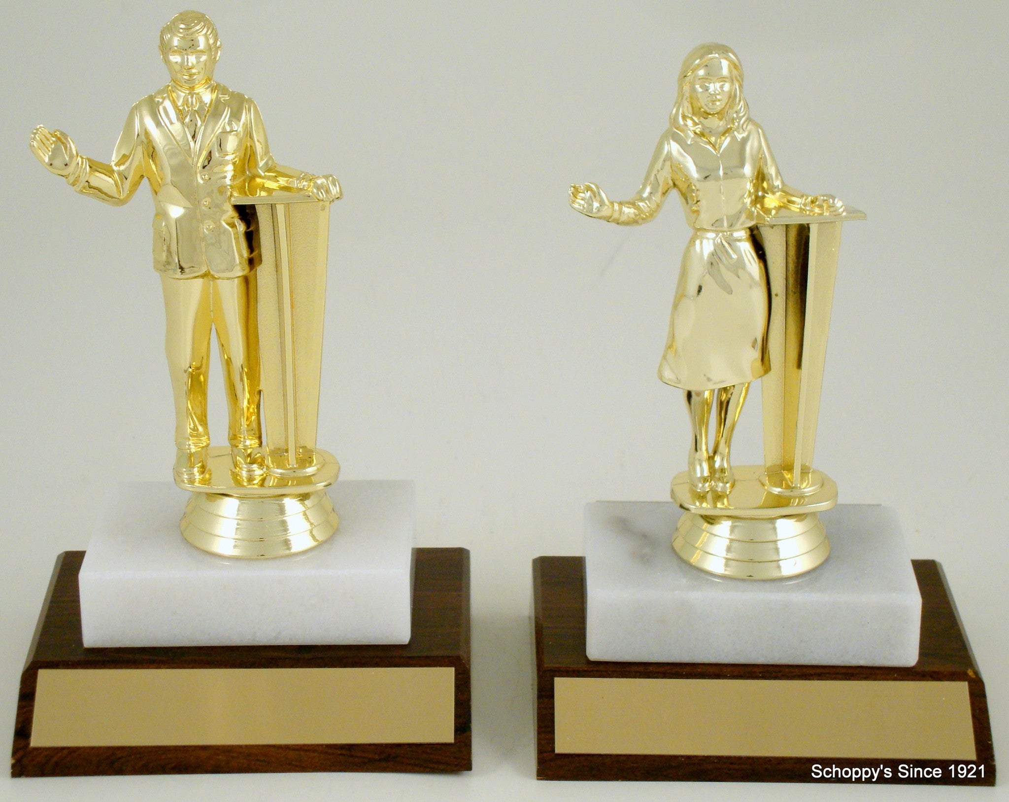 Debater Figure On Wood And Marble Base-Trophy-Schoppy's Since 1921