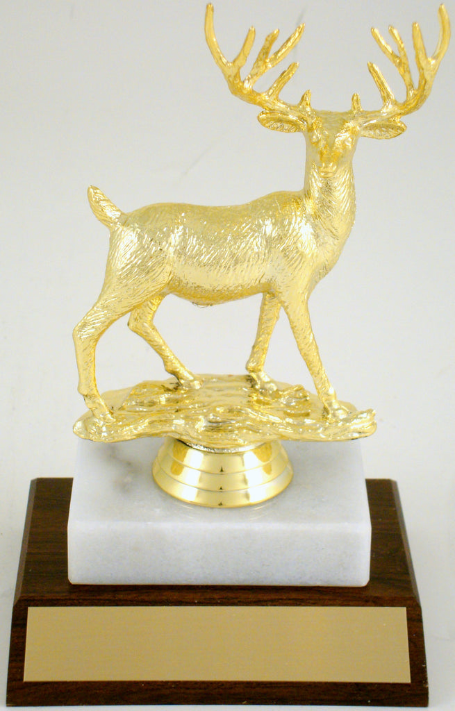 Deer Buck On Wood And Marble Base