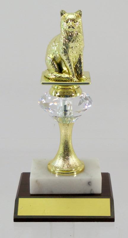 Cat Figure Diamond Riser Trophy on Wood and Marble Base