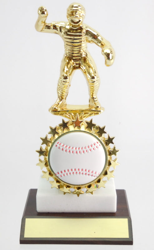 Baseball Catcher Metal Figure Trophy on Marble and Wood Base with Starred Logo Holder-Trophy-Schoppy's Since 1921