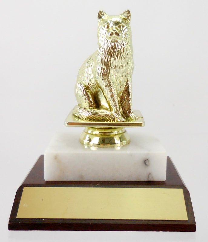 Cat Figure Trophy On Marble and Wood Base