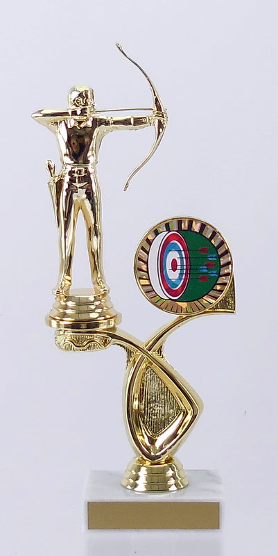 Offset Archery Figure Trophy On Marble Base