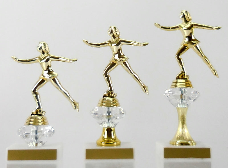 Ice Skating Diamond Riser Trophy - Small, Medium & Large