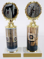 Axe Throwing Logo Trophy With Metal Roll Column On Marble-Trophy-Schoppy's Since 1921