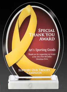 Yellow Ribbon Awareness Acrylic Award