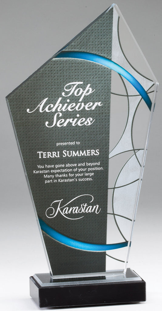 Blue Stained Glass Acrylic Award With Marble Base
