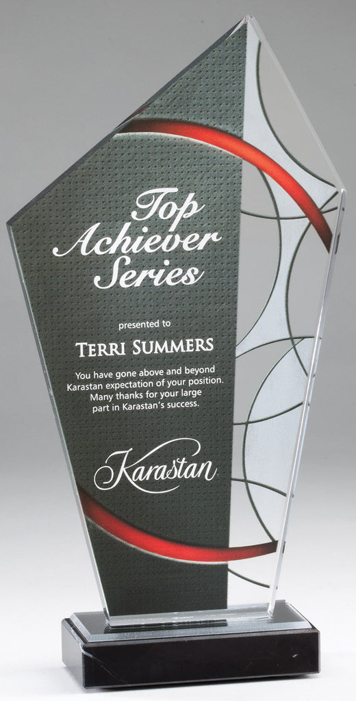 Red Stained Glass Acrylic Award With Marble Base