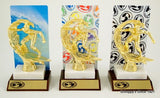 ESA Rainbow Amoeba Trophy with Metal Backdrop On Marble and Wood Base-Trophies-Schoppy's Since 1921
