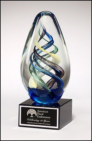 Egg - Shaped Glass Award on Black Glass Base