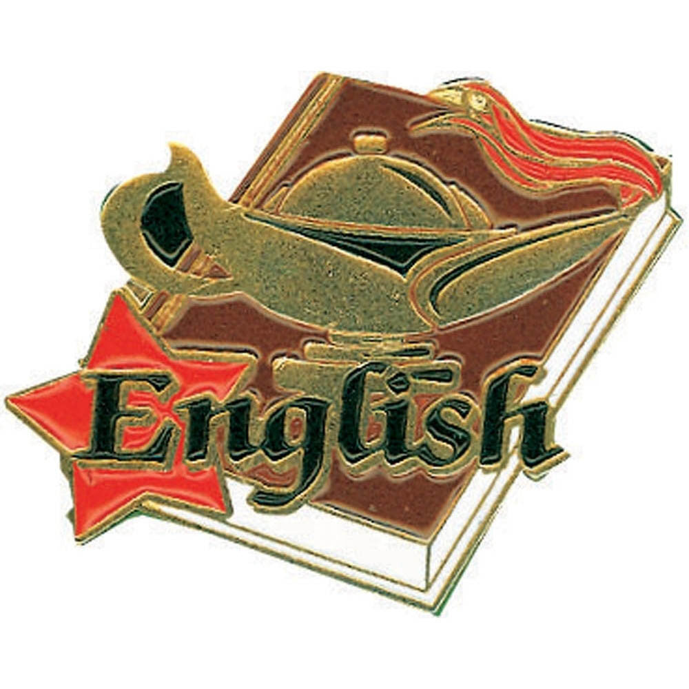 English Lamp of Learning Pin