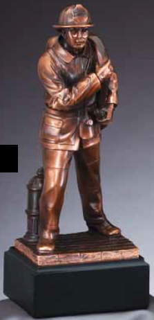 Fireman American Hero Electroplated Resin Sculpture-Trophies-Schoppy's Since 1921