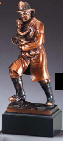 Fireman Rescues Child American Hero Electroplated Resin Sculpture-Trophies-Schoppy's Since 1921