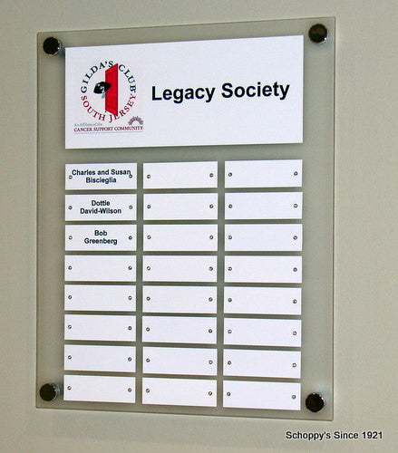 Frosted acrylic custom perpetual plaque schoppy 39 s since 1921 - Achat plaque plexiglass castorama ...