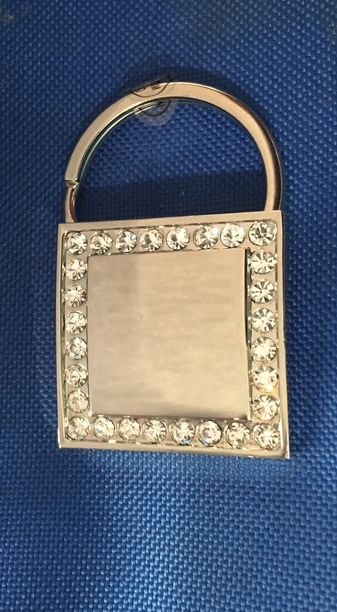 Rhinestone Bordered Square Key Chain with Pageant Crown-Key Chain-Schoppy's Since 1921