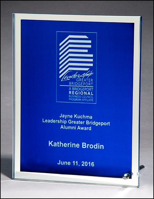 Glass plaque with blue silk screened center and mirror border-Plaque-Schoppy's Since 1921