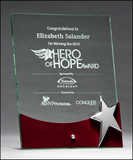 Free Standing Glass Award With High Gloss Rosewood Accent And Silver Star-Acrylic-Schoppy's Since 1921