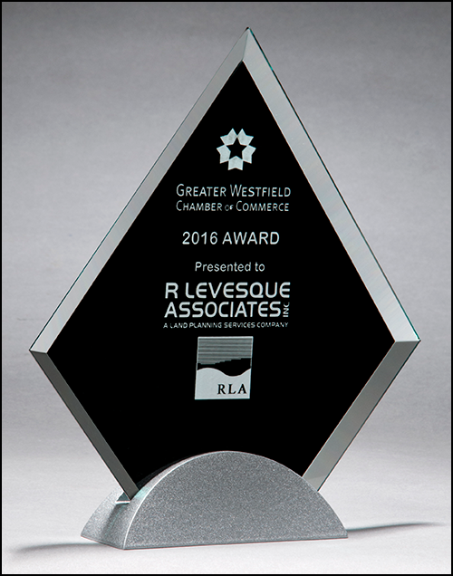 Diamond-shaped glass award with black silk screen on silver metal base-Acrylic-Schoppy's Since 1921