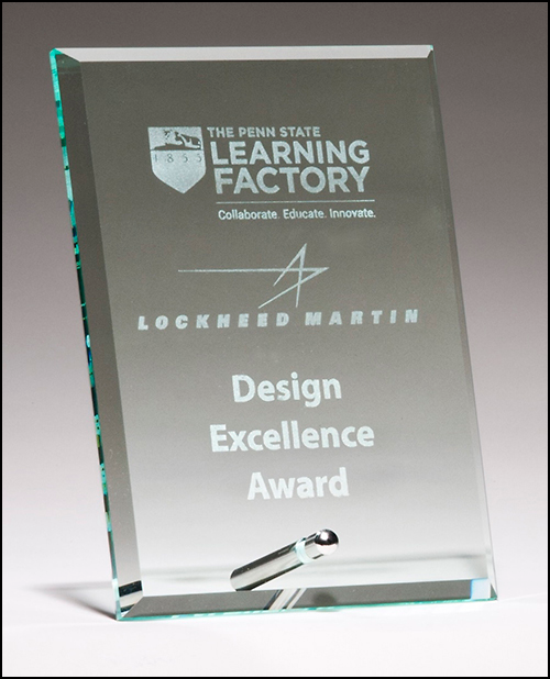 Clear Glass Award With a Silver Plated Easel Post