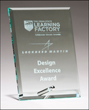 Clear Glass Award With a Silver Plated Easel Post-Glass & Crystal Award-Schoppy's Since 1921
