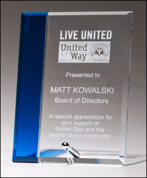 UV Direct Print Saphire Blue Highlight Glass Award