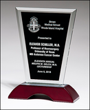 Clear Glass Award with Black Silk Screened Center on High Gloss Rosewood Base with Brushed Aluminum Top-Glass & Crystal Award-Schoppy's Since 1921