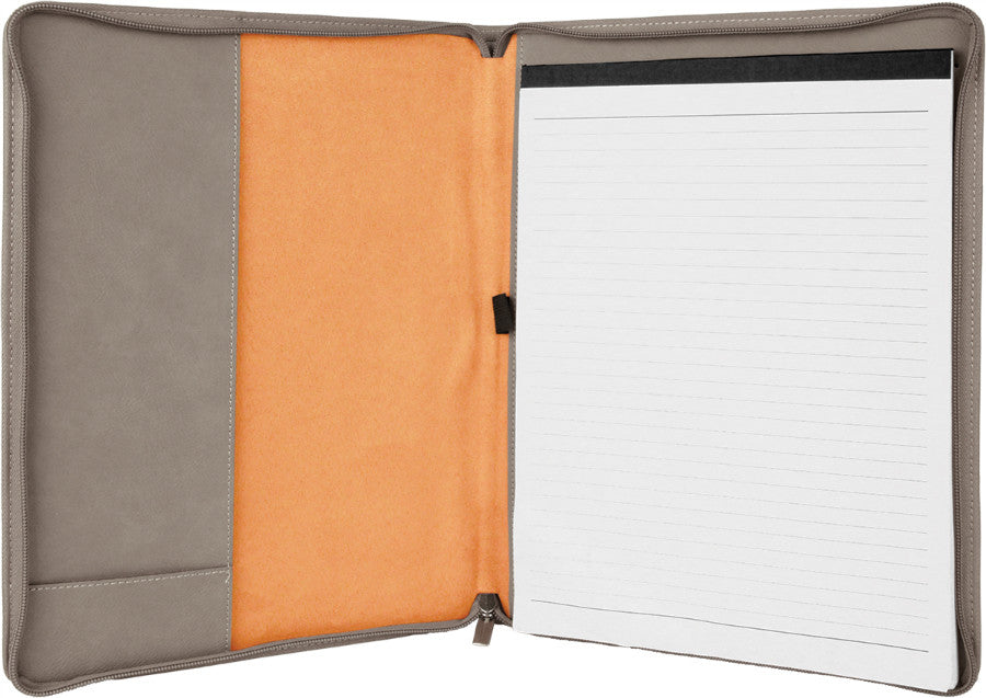 Zipper Laserable Leatherette Portfolio with Notepad