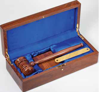 Deluxe Gavel Set - Walnut Piano Finish
