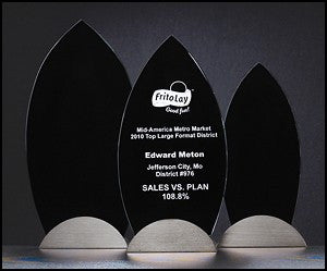 Glass Award - Flame Black Silk Screened-Glass & Crystal Award-Schoppy's Since 1921