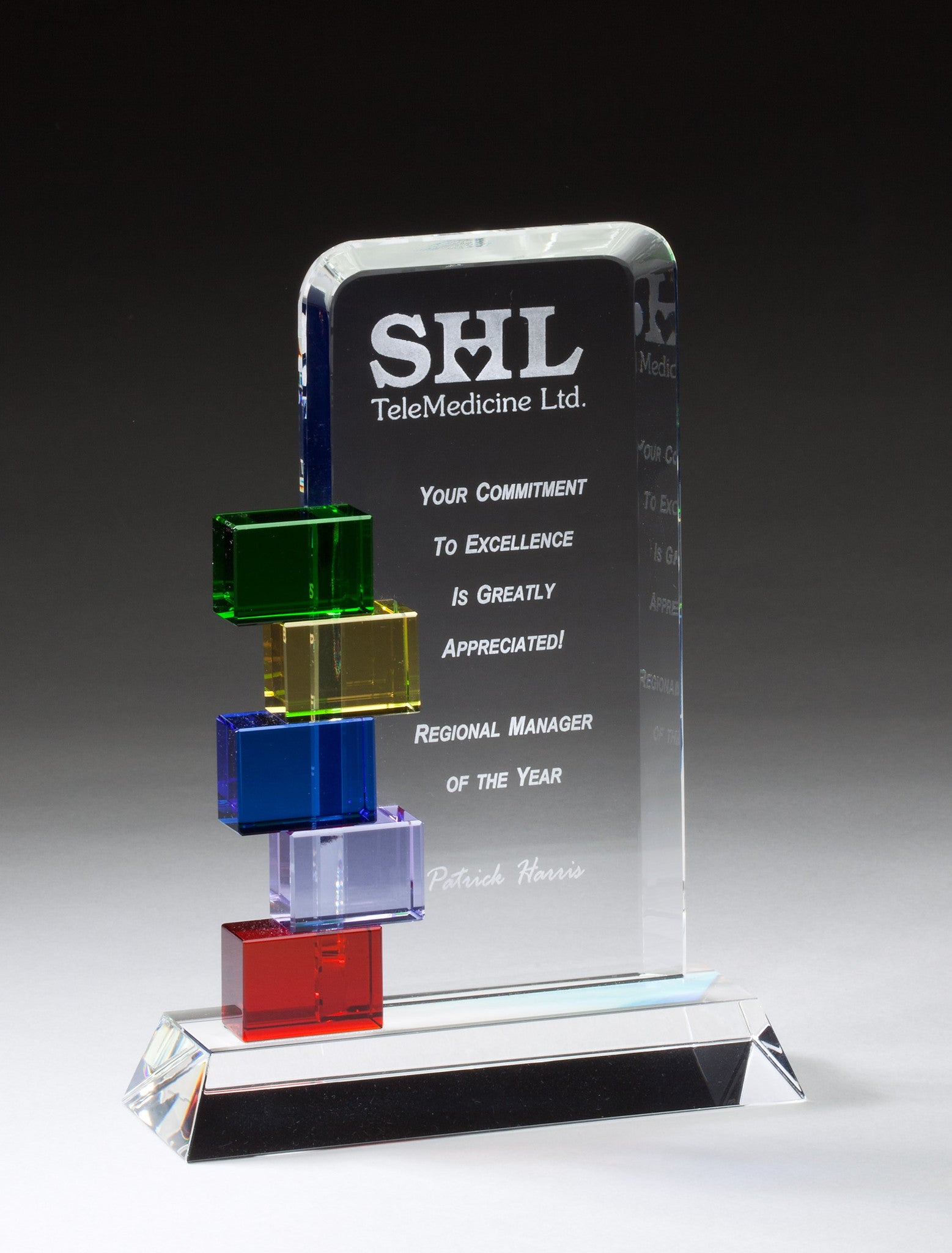 Glass Award with Multi-Colored Accents-Glass & Crystal Award-Schoppy's Since 1921