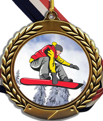 Snowboarding Logo Medal With Ribbon-Trophy-Schoppy's Since 1921