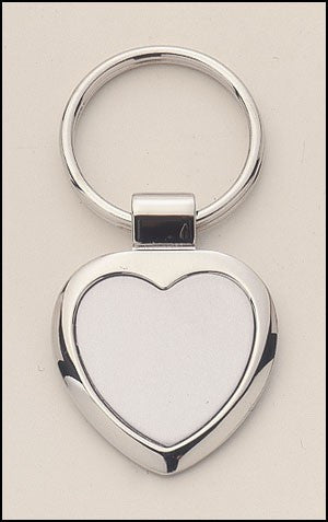 Polished Heart-Shaped Silver Keyring-Key Chain-Schoppy's Since 1921
