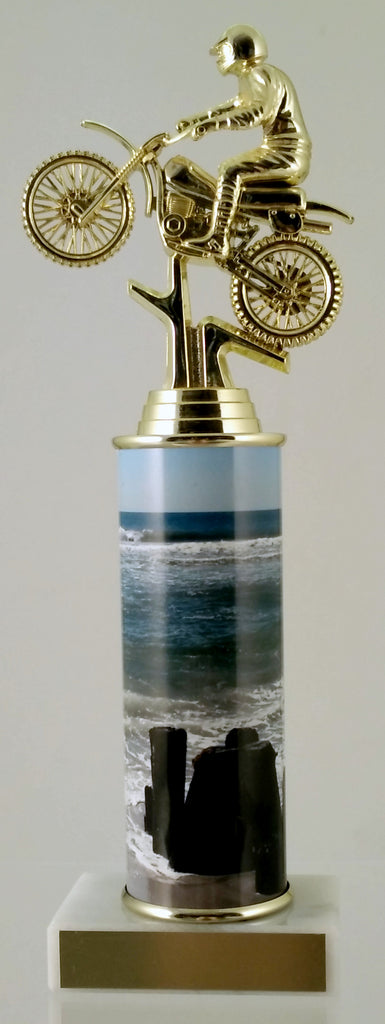 Dirt Bike Trophy With Beach Metal Column On Marble